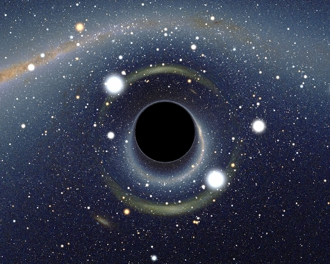 Gravitational distortions caused by a black hole in front of the Large Magellan cloud.
