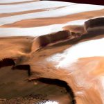 Water ice in the northern polar region of Mars - perspective colour view. Credit: ESA/DLR/FU Berlin (G. Neukum).