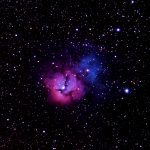The Trifid Nebula, M20 (NGC 6514) is located in Sagittarius. Its distance to earth is 7600 Light Years.
