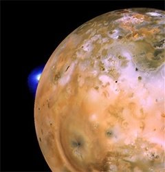Io, moon of Jupiter shown with plume. Credit: NASA